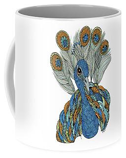 Coffee Mug featuring the drawing Peacock by Barbara McConoughey
