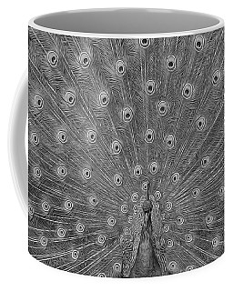 Coffee Mug featuring the photograph Peacock Fanfare - Black And White by Diane Alexander