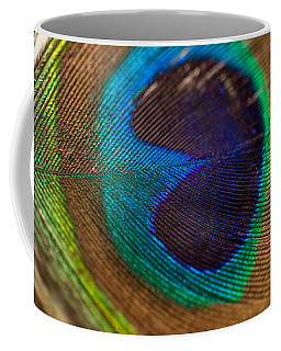 Peacock Feather Macro Detail Coffee Mug