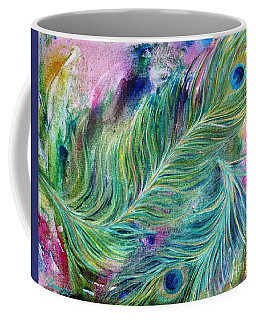 Peacock Feathers Bright Coffee Mug by Denise Hoag