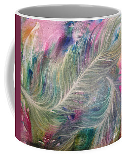 Peacock Feathers Pastel Coffee Mug by Denise Hoag
