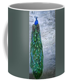 Peacock In Winter Coffee Mug by LaVonne Hand