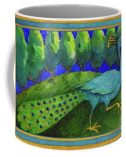 Coffee Mug featuring the painting Peacock  by Lora Serra