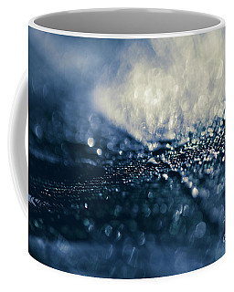 Coffee Mug featuring the photograph Peacock Macro Feather And Waterdrops by Sharon Mau