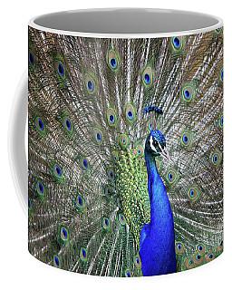 Coffee Mug featuring the photograph Peacock by Maria Gaellman
