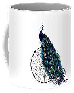 Peacock On A Bicycle, Home Decor Coffee Mug