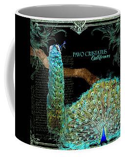 Peacock Pair On Tree Branch Tail Feathers Coffee Mug