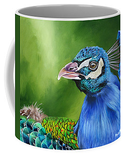 Coffee Mug featuring the painting Peacock Profile by Phyllis Beiser