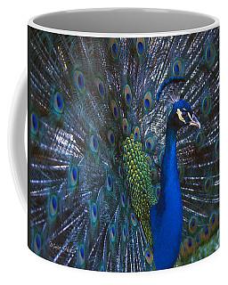 Coffee Mug featuring the photograph Peacock Splendor by Marie Hicks