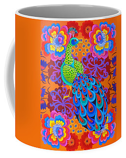 Peacock With Flowers Coffee Mug