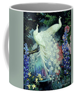 Coffee Mug featuring the painting Peacocks And Hollyhocks by Pg Reproductions
