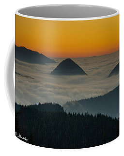 Peaks Above The Fog At Sunset Coffee Mug