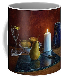 Coffee Mug featuring the photograph Pears By Candlelight by Mark Fuller