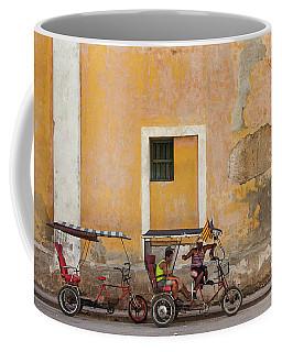 Coffee Mug featuring the photograph Pedicabs At Convento De Santa Clara Havana Cuba by Charles Harden