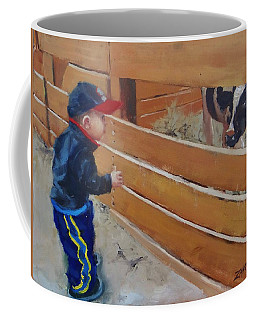 Coffee Mug featuring the painting Peekaboo by Laura Lee Zanghetti