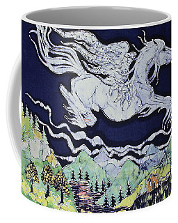 Pegasus Flying Over Stream Coffee Mug