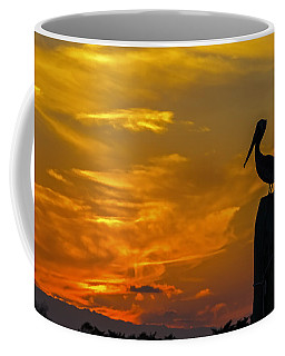 Pelican At Silver Lake Sunset Ocracoke Island Coffee Mug