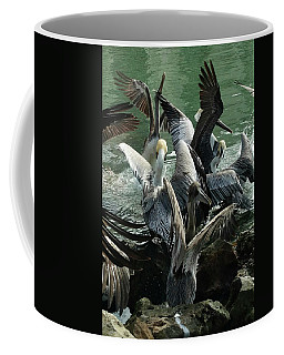 Coffee Mug featuring the photograph Pelican Mosh Pit by Steve Sperry