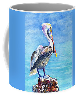 Pelican On A Post  Coffee Mug