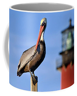 Pelican Perched Under Jupiter Lighthouse, Florida Coffee Mug