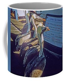 Pelicans And The Menu Coffee Mug