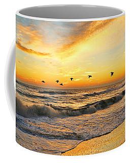 Pelicans At Sunrise  Signed 4651b 2  Coffee Mug