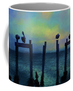 Pelicans At Sunset Coffee Mug