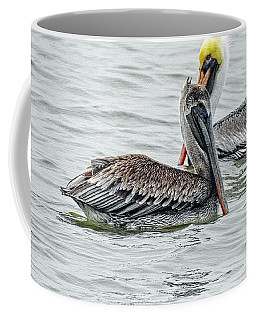 Coffee Mug featuring the photograph Pelicans On Canvas by Ella Kaye Dickey