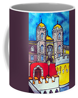 Coffee Mug featuring the painting Pena Palace In Sintra Portugal  by Dora Hathazi Mendes
