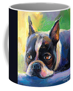 Pensive Boston Terrier Dog Painting Coffee Mug