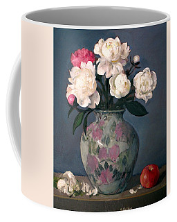 Peonies In Floral Vase, Red Apple Coffee Mug