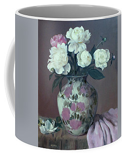 One Pink And Four White Peonies,lavender Cloth  Coffee Mug