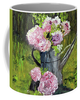 Peonies In Watering Can Coffee Mug