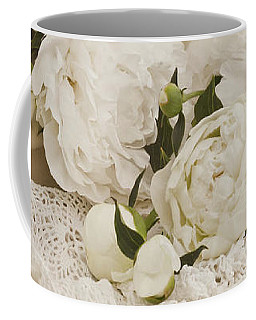 Peonies In White  Coffee Mug