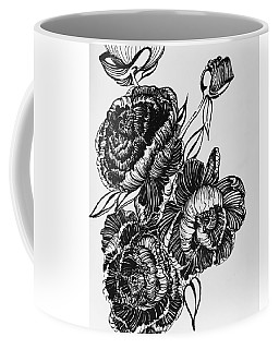 Peonies Line Drawing Coffee Mug