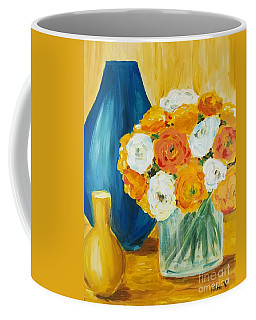 Coffee Mug featuring the painting Peonies by Maria Langgle