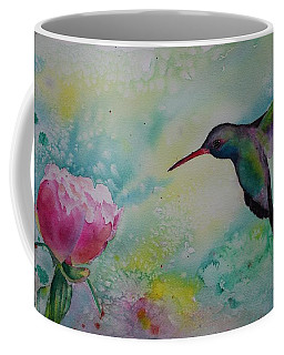 Peony And Hummingbird Coffee Mug