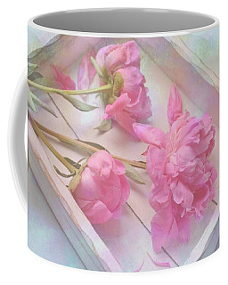 Peonies In White Box Coffee Mug