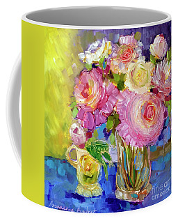 Coffee Mug featuring the painting Peony Love by Rosemary Aubut