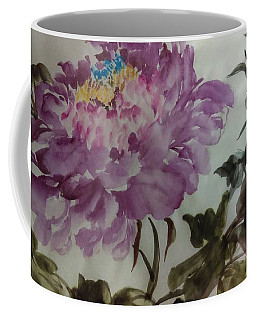 Coffee Mug featuring the painting Peony20170213_1 by Dongling Sun