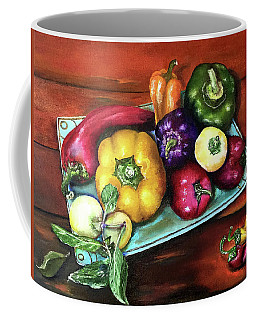 Peppers And A Turquoise Tray Coffee Mug