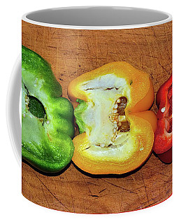 Coffee Mug featuring the photograph Peppers In A Row By Kaye Menner by Kaye Menner