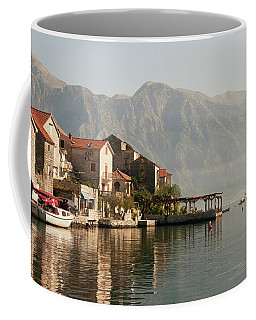 Coffee Mug featuring the photograph Perast Restaurant by Phyllis Peterson