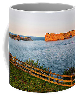 Coffee Mug featuring the photograph Perce Rock At Sunset by Elena Elisseeva