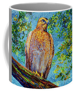 Coffee Mug featuring the painting Perched Hawk by AnnaJo Vahle