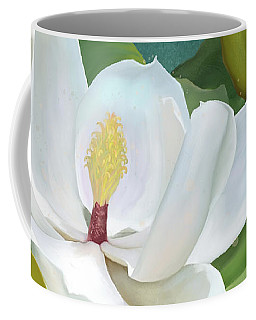Coffee Mug featuring the painting Perfection - Magnolia Blossom Floral by Audrey Jeanne Roberts