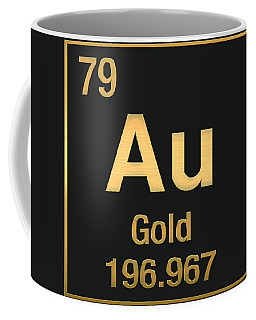 Periodic Table Of Elements - Gold - Au - Gold On Black Coffee Mug