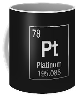 Periodic Table Of Elements - Platinum - Pt - Platinum On Black Coffee Mug