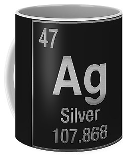 Periodic Table Of Elements - Silver - Ag - Silver On Black Coffee Mug
