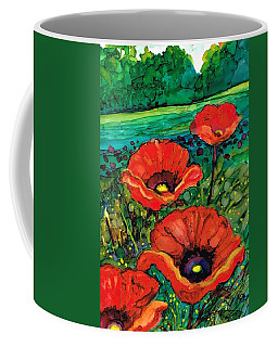 Coffee Mug featuring the painting Perky Poppies by Val Stokes